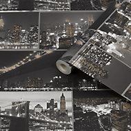 Fresco City at night Black Smooth Wallpaper