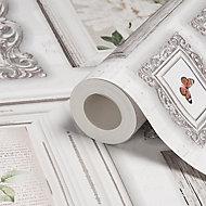 Fresco Emphoria White Butterfly Smooth Wallpaper