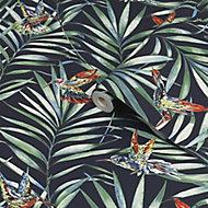 Fresco Green & navy Hummingbird Smooth Wallpaper