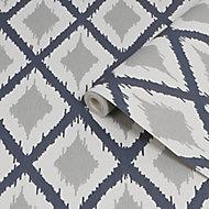 Fresco Ikat Blue & grey Geometric Smooth Wallpaper