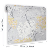 Fresco Lykke Grey & ochre Tree Smooth Wallpaper