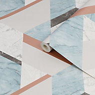 Fresco Marblesque Charcoal, jade & white Geometric Rose gold effect Smooth Wallpaper