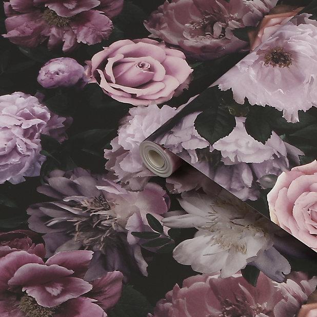 Fresco Pandora drama Black & pink Floral Smooth Wallpaper
