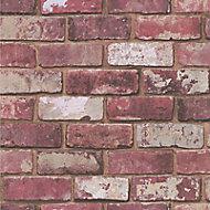 Fresco Red Brick effect Smooth Wallpaper