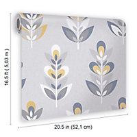 Fresco Retro Grey & navy Floral Smooth Wallpaper