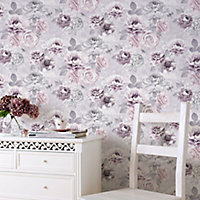 Fresco Romantic ink Pink, purple & grey Floral Wallpaper