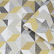Fresco Tribal Grey & ochre Geometric Smooth Wallpaper