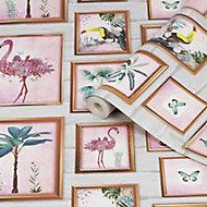 Fresco Tropical Multicolour Frames Smooth Wallpaper