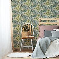 Fresco Tropicana Green Leaves Smooth Wallpaper