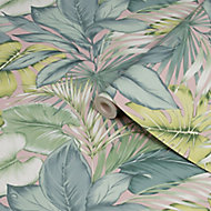 Fresco Tropicana Green Leaves Smooth Wallpaper