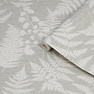 Fresco Witton Taupe Leaves Smooth Wallpaper