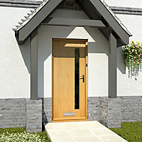 Frosted Glazed Contemporary White oak veneer LH & RH External Front Door, (H)1981mm (W)762mm