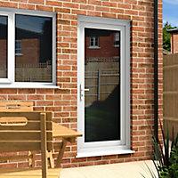 Fully glazed White uPVC LH External Back Door set, (H)2055mm (W)920mm