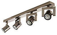 Galene Gun metal effect Mains-powered 4 lamp Spotlight