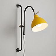 Gator Ochre & pewter Plug-in Wall light
