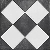 Gatsby Black & white Matt Patterned Porcelain Outdoor Floor Tile, (L)604mm (W)604mm