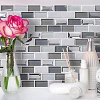 Gatsby Blue & grey Marble effect Brick Glass & stone Mosaic tile, (L)300mm (W)300mm