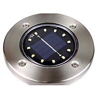 Gavea Black Stainless steel effect Solar-powered LED Outdoor Ground light