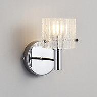 Genie Polished Transparent Chrome effect Bathroom Wall light