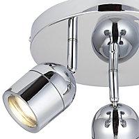 Genlis Chrome effect Mains-powered 3 lamp Bathroom Spotlight