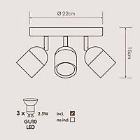 Genlis Matt White Mains-powered 3 lamp Bathroom Spotlight