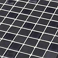 Genovia Black & grey Glass effect Glass Mosaic tile, (L)295mm (W)295mm