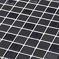 Genovia Black & grey Glass effect Mosaic Glass Mosaic tile, (L)295mm (W)295mm