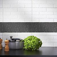 Genovia Black & grey Glass Mosaic tile, (L)295mm (W)295mm