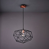 Geo Black Antique brass effect Geometric Ceiling light