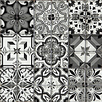 Geo Black & white Glass Mosaic tile sheets, (L)320mm (W)320mm