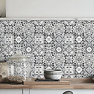 Geo Black & white Moroccan Glass Mosaic tile sheets, (L)320mm (W)320mm