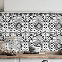 Geo Black & white Moroccan Glass Mosaic tile sheets, (L)320mm (W)320mm