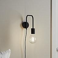 Ghlin Matt Black Plug-in Wall light