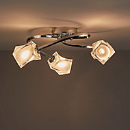 Glacies Chrome effect 3 Lamp Ceiling light