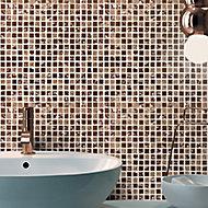 Glamour Bronze mirror effect Glass 3x3 Mosaic tile, (L)300mm (W)300mm