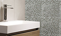 Glamour Clear Glass & marble Mosaic tile, (L)300mm (W)300mm
