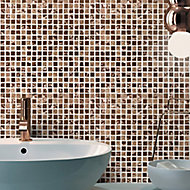 Glamour Polished Bronze mirror effect Glass 3x3 Mosaic tile, (L)300mm (W)300mm