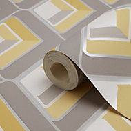 Glauca Grey & yellow Retro 70's 3D effect Textured Wallpaper