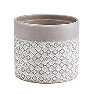 Glazed Driftwood Clay Diamond Plant pot (Dia)12.5cm