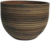 Glazed Terracotta Bamboo effect Ceramic Plant pot (Dia)19cm
