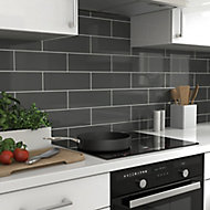 Glina Anthracite Gloss Ceramic Wall Tile, Pack of 34, (L)297mm (W)97mm