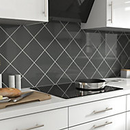 Glina Anthracite Gloss Ceramic Wall Tile, Pack of 40, (L)150mm (W)150mm