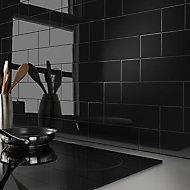 Glina Black Gloss Ceramic Wall Tile, Pack of 34, (L)297mm (W)97mm