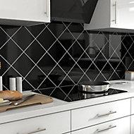 Glina Black Gloss Ceramic Wall Tile, Pack of 40, (L)150mm (W)150mm
