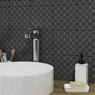 Glina Black Gloss Patterned Ceramic Wall Tile, Pack of 40, (L)150mm (W)150mm