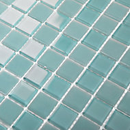 Glina Blue Frosted Glass Mosaic tile sheet, (L)300mm (W)300mm
