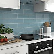 Glina Blue Gloss Ceramic Wall Tile, Pack of 34, (L)297mm (W)97mm