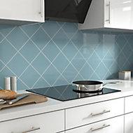Glina Blue Gloss Ceramic Wall Tile, Pack of 40, (L)150mm (W)150mm