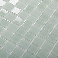 Glina Green Frosted Glass Mosaic tile sheet, (L)300mm (W)300mm