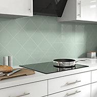 Glina Green Gloss Ceramic Wall Tile, Pack of 40, (L)150mm (W)150mm